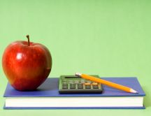Book, apple, pencil and calculator - basic school stuff