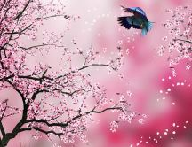 Little bird and blooming trees - HD abstract wallpaper