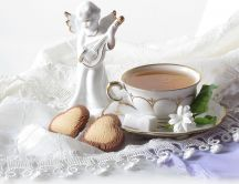 Good morning angel - delicious tea and sweet heart cookies