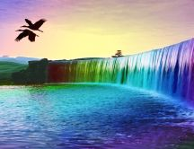 Rainbow waterfall and two lovely birds