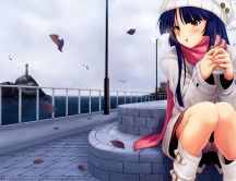 Anime girl freezing on a path of city - cold autumn