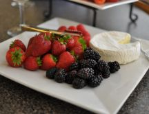 Fruits and brie cheese - plate full of vitamins