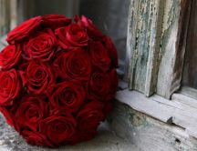 Big bouquet of red roses with velvety petals
