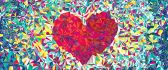 Pieces of colored paper - red heart shape