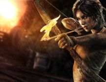 Girl with bow fire - Lara Croft in Tomb Raider 2013