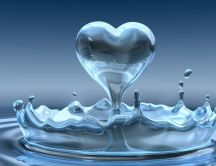 Heart of a drop of water - macro love wallpaper