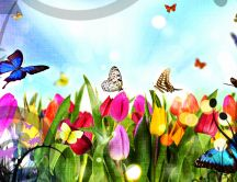 Beautiful butterflies in the flower garden - HD wallpaper