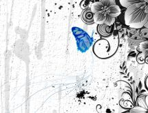 Blue butterfly on a gray background