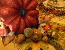 Autumn symbols - pumpkins and corns