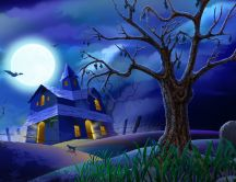 Scary Halloween night - beautiful drawing
