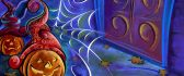 Halloween pumpkins and spider web - drawing HD wallpaper