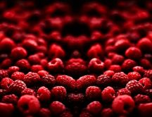 Delicious raspberries - fruits in the mirror