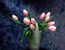 Pink tulips in a vase - perfect painting