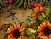 Flowers and insects - beautiful painting