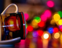 Old cup full with colourful lights - HD wallpaper