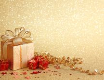 Christmas gift boxes - golden background