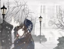 Anime lovers in the park - romantic winter time