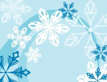 Abstract snowflakes - blue background