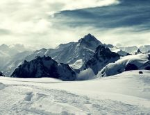 Beautiful winter landscape - white snow on the mountains