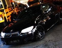 Shiny black car - BMW E92 335i - high speed