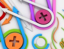 Abstract colourful wallpaper - arrows and buttons