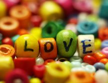 Delicious coloured Love candies - sweet moment