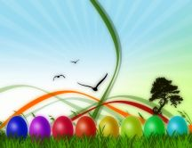 Colored eggs in the grass - beautiful Easter paint