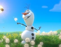 Olaf play with dandelions - scene from Frozen movie