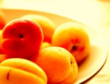 Plate full with peaches - summer fruit