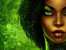 Dark girl on a green background - digital art
