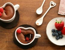 Chocolate cake with fruits - delicious breakfast