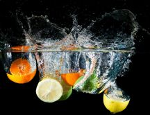 Fresh fruits in the water - perfect lemonade