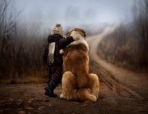 Child and a lovely dog - HD Nature wallpaper