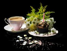 Happy birthday - coffee and delicious muffin