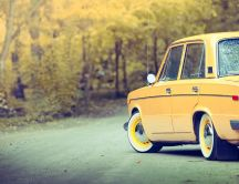Old Lada car - beautiful autumn moments