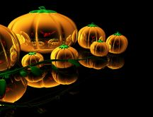 Abstract glass pumpkins - HD Halloween wallpaper