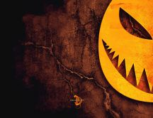 Scary pumpkin on the wall - HD wallpaper