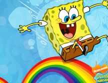 Funny cartoons - lovely spongebob run on the raibow
