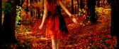 Beautiful lady in the middle of forest - autumn season