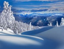 Snow on the mountains - beautiful winter landscape