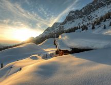 Cottage in the top of mountain - HD winter wallpaper