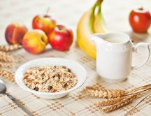 Healthy breakfast - cereals with milk and fruits