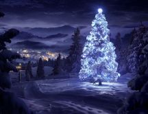 White Christmas tree in the nature - HD snowy wallpaper