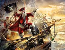 Pirate Santa Claus - Funny Christmas wallpaper