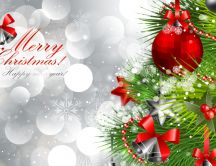 Merry Christmas and a Happy New Year - silver background