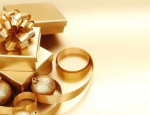 Golden present from Santa Claus - Merry Christmas