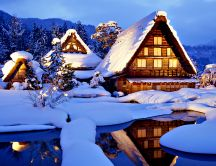 Beautiful cottage for holidays - HD winter wallpaper