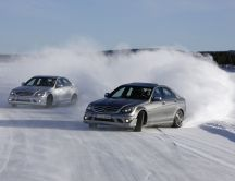 Mercedes cars - drifting on the snow