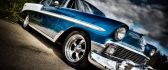 Blue shiny old car - HD beautiful auto wallpaper