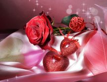 Shiny hearts and red rose - gifts for Valentines Day
